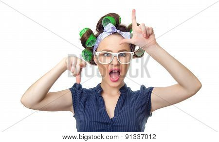 Young Woman With Curlers