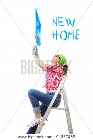 Woman Sitting On Ladder And Painting A Wall An Blue Color, Isolated On White. Worker Female Holding