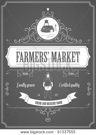 Farmers Market Vintage Advertisement Poster.