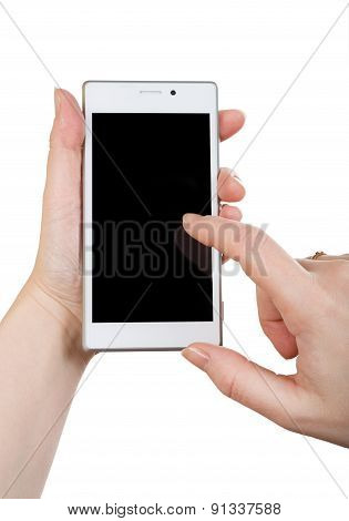 Woman Hand With White Smartphone