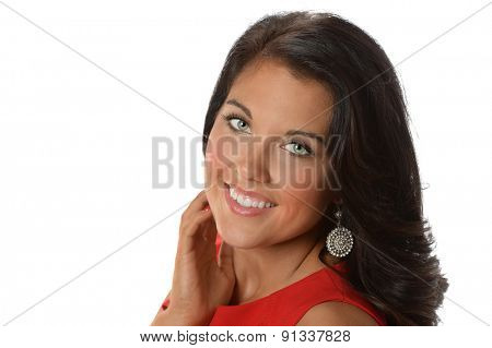 Portrait of beautiful businesswoman smiling isolated over white background