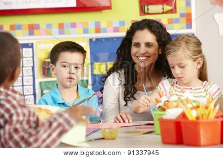 Group Of Elementary Age Schoolchildren In Art Class With Teacher