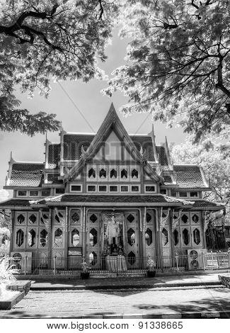 BW Infrared photo Hua Hin train station Thailand