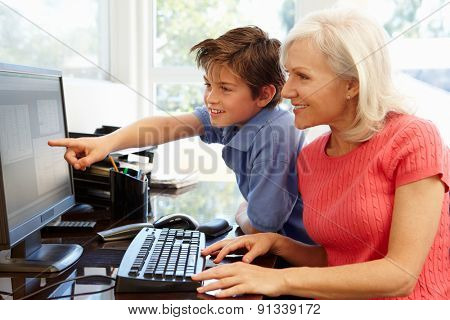 Mid age woman and grandson using computer
