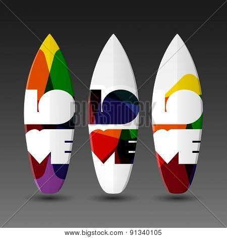 Surfboard Design Templates with Abstract LOVE Label