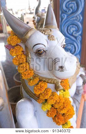 Statue Of Nandi The Bull Outside Shiva Temple Goa, India