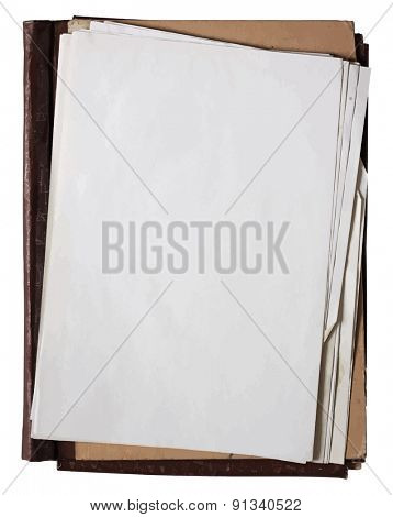 folder with stack of old papers, vector