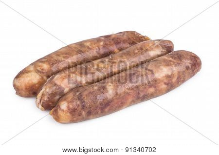 Three Raw Pork Sausages Isolated On White