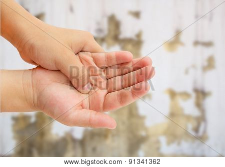 Close Up Hand Pain On Grunge Background