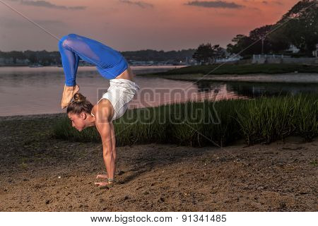 Yoga Headstand Scorpion Variation Beach