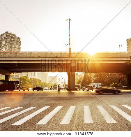sunbeam on the urban road