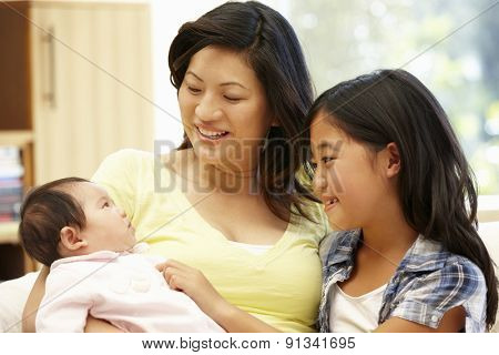 Asian mother and daughters