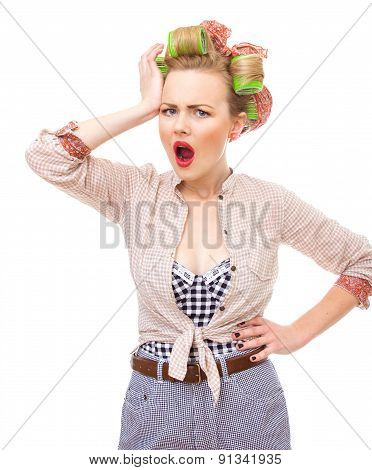 Portrait Of Surprised / Sad Or Unhappy Pin-up Girl, Isolated On White. Old / Retro Fashion Photo