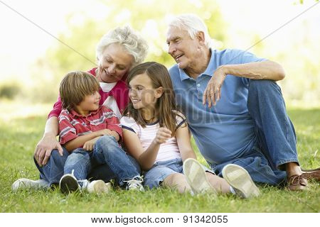 Senior couple and grandchildren in park