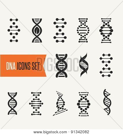 DNA, genetic sign, elements and icons collection