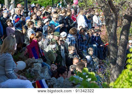Sevastopol, Crisevastopol, Crimea - May 9, 2015: Parade On The Waterfront In Honor Of The 70Th Anniv