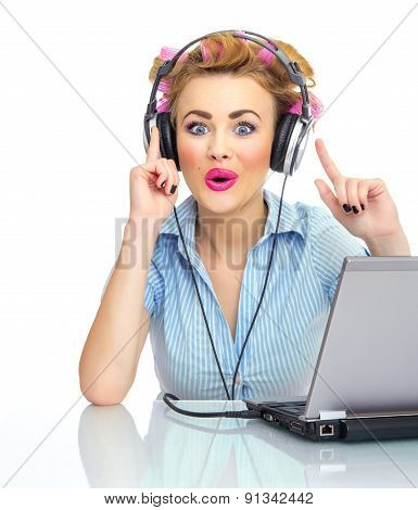 Happy Woman Listening To Music On Her Headphones, Isolated On White