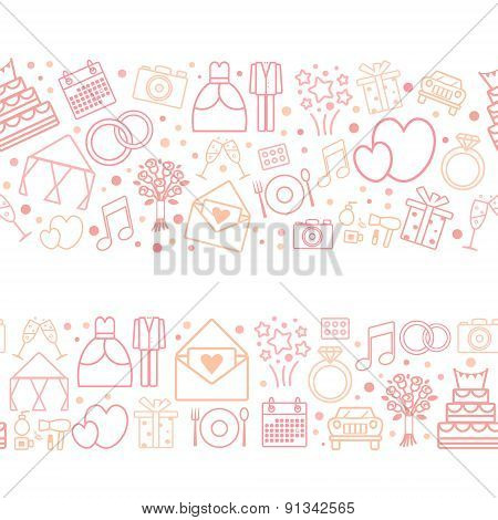 Seamless Vector Pattern Borders Of Wedding Icons.