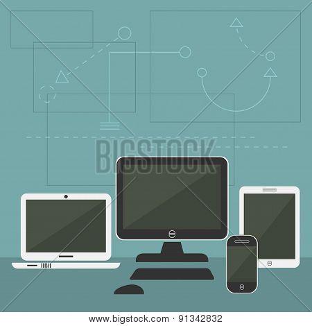 Blue Modern Digital Devices set