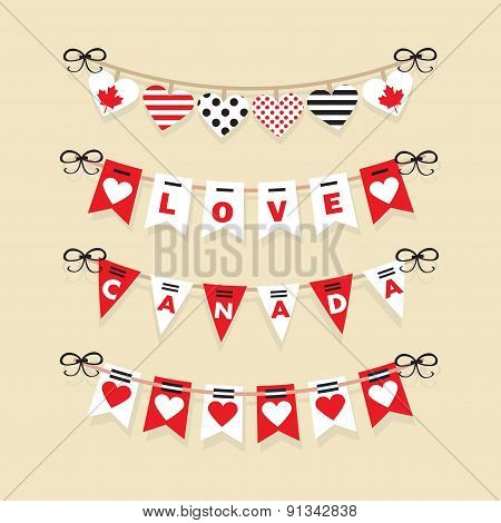 Canada Day buntings decoration icons set