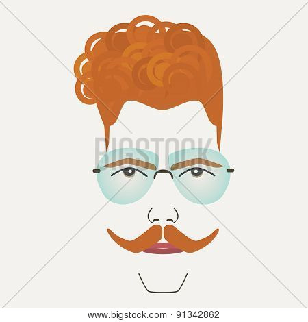 Red hair hipster male with sunglasses