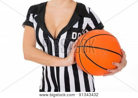 Female Referee With Basketball