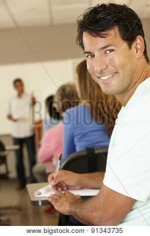 Mature student in class