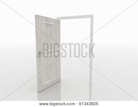 Open Door Isolated On White Background, 3D Render