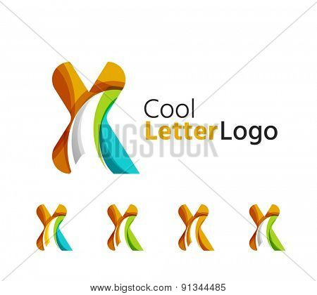 Set of abstract X letter company logos. Business icons made of overlapping flowing waves. Light color modern minimal design