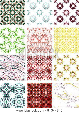 Set seamless geometric patterns - circles, swirls and floral textures. Vector illustration