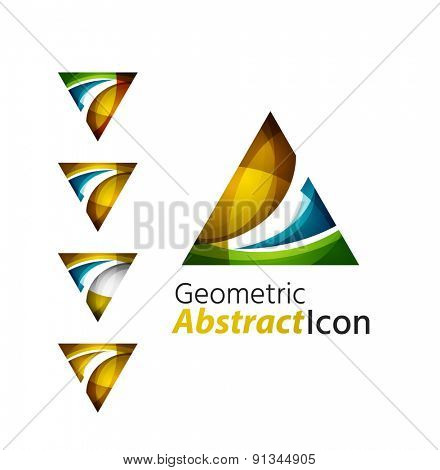 Set of abstract geometric company logo triangle, arrow. Vector illustration of universal shape concept made of various wave overlapping elements