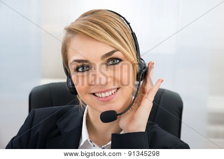 Smiling Female Customer Service Representative