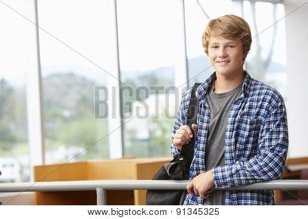 Teenage student boy indoors