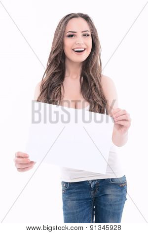 Beautiful young girl isolated copyspace