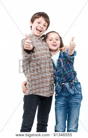 Happy children on a white background