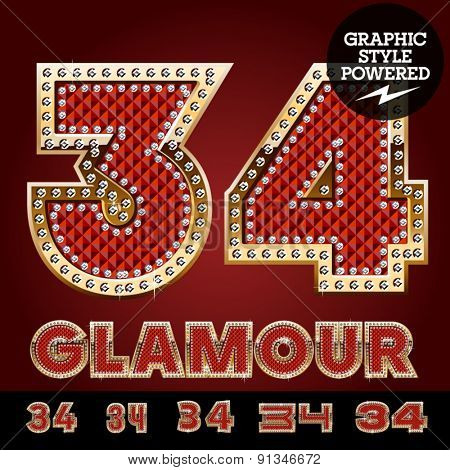 Vector luxury chic alphabet of gold and ruby letters, symbols and numbers with diamonds. File contains graphic styles available in Illustrator. Numbers 3 4