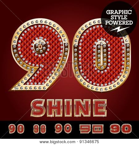 Vector luxury chic alphabet of gold and ruby letters, symbols and numbers with diamonds. File contains graphic styles available in Illustrator. Numbers 9 0