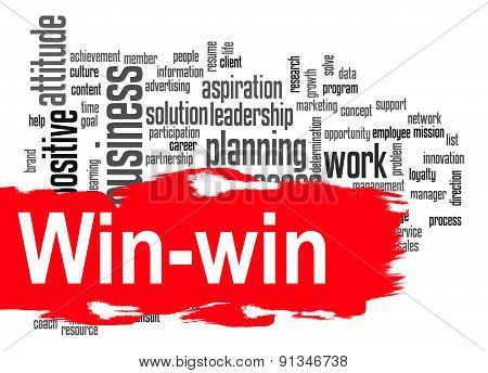 Win-win Word Cloud With Red Banner