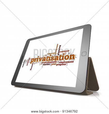 Privatisation Word Cloud On Tablet
