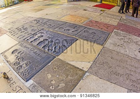 Handprints Of Michael Jackson And Others In Hollywood Boulevard In The Concrete Of Chinese Theatre's