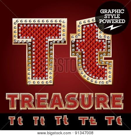Vector luxury chic alphabet of gold and ruby letters, symbols and numbers with diamonds. File contains graphic styles available in Illustrator. Letter T
