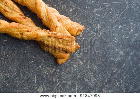 top view of bread sticks with cheese