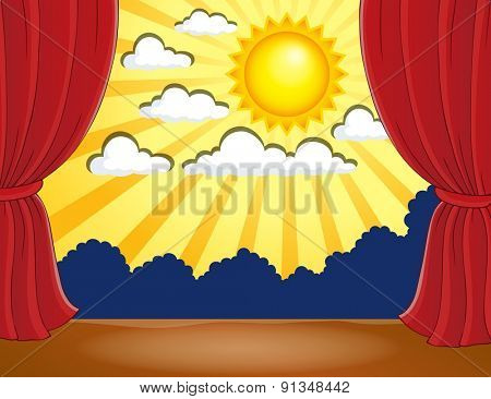 Stage with abstract sun 3 - eps10 vector illustration.