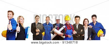 White and blue collar worker as a team holding thumbs up