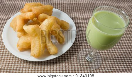 Deep Fried Doughstick With Green Tea Soybean Milk