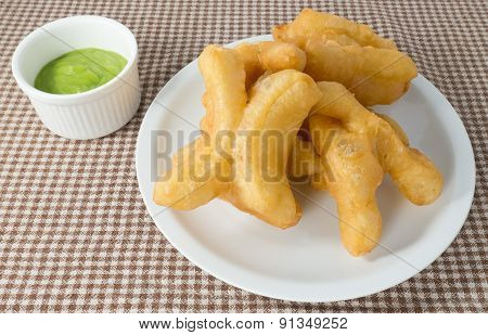Delicious Deep Fried Doughstick With Pandan Custard Dip