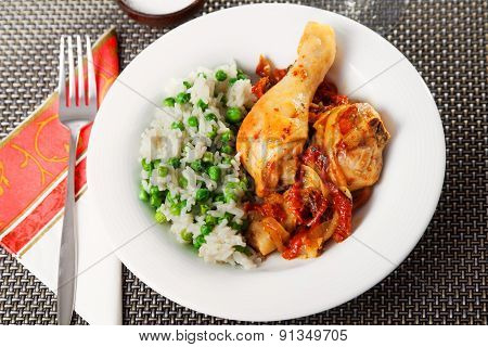 Chicken With Rice And Tomato Sauce