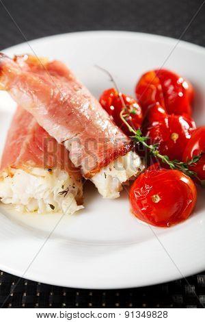 White Fish Wrapped In Bakon