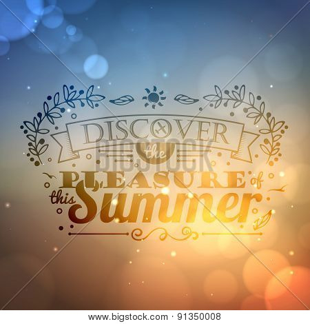 Vintage Typography Lettering Summer Design And Blurred Background