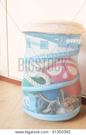 Blue toy basket